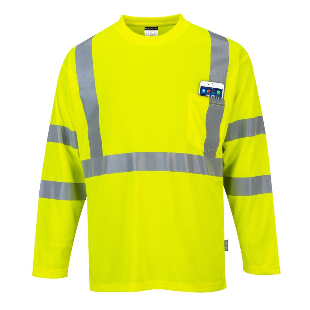 Hi-Vis Long Sleeved T-Shirt S191 Yellow