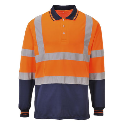 Two-Tone Long Sleeved Polo S279 OrangeNavy