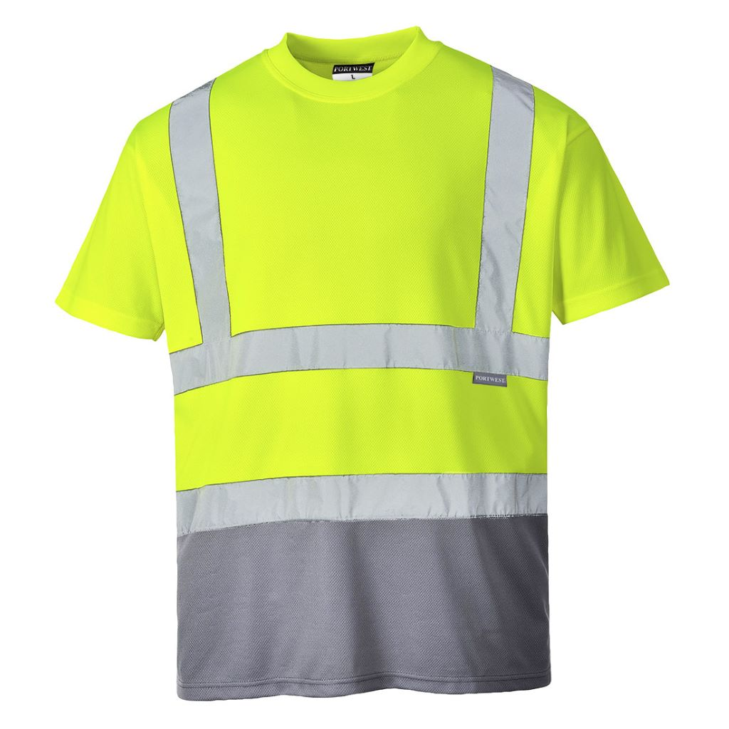 Hi-Vis 2-Tone T-Shirt S378 YellowGrey