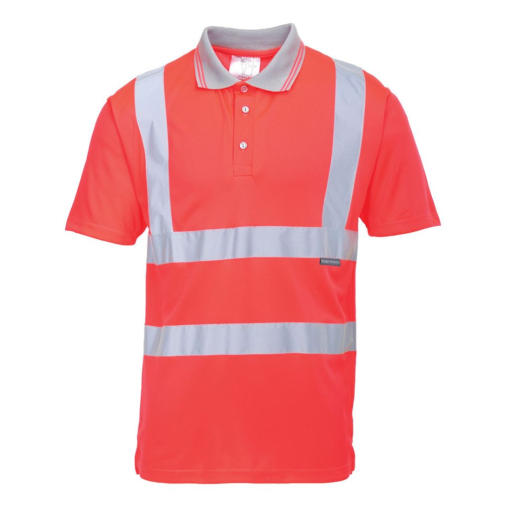 Hi-Vis S/S Polo Shirt S477 Red