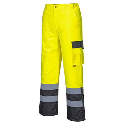 Hi-Vis Lined Contrast Trousers S686 YellowBlack