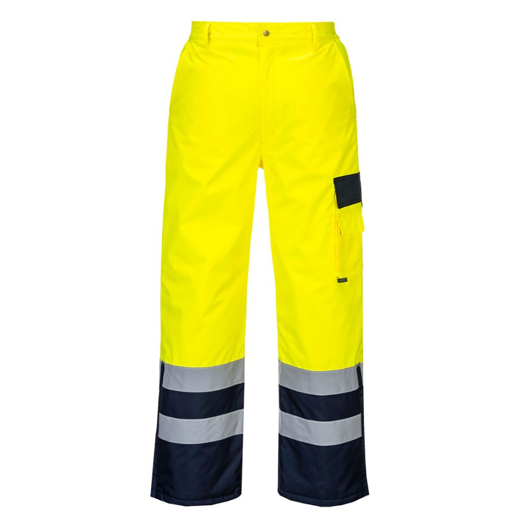 Hi-Vis Lined Contrast Trousers S686 YellowNavy