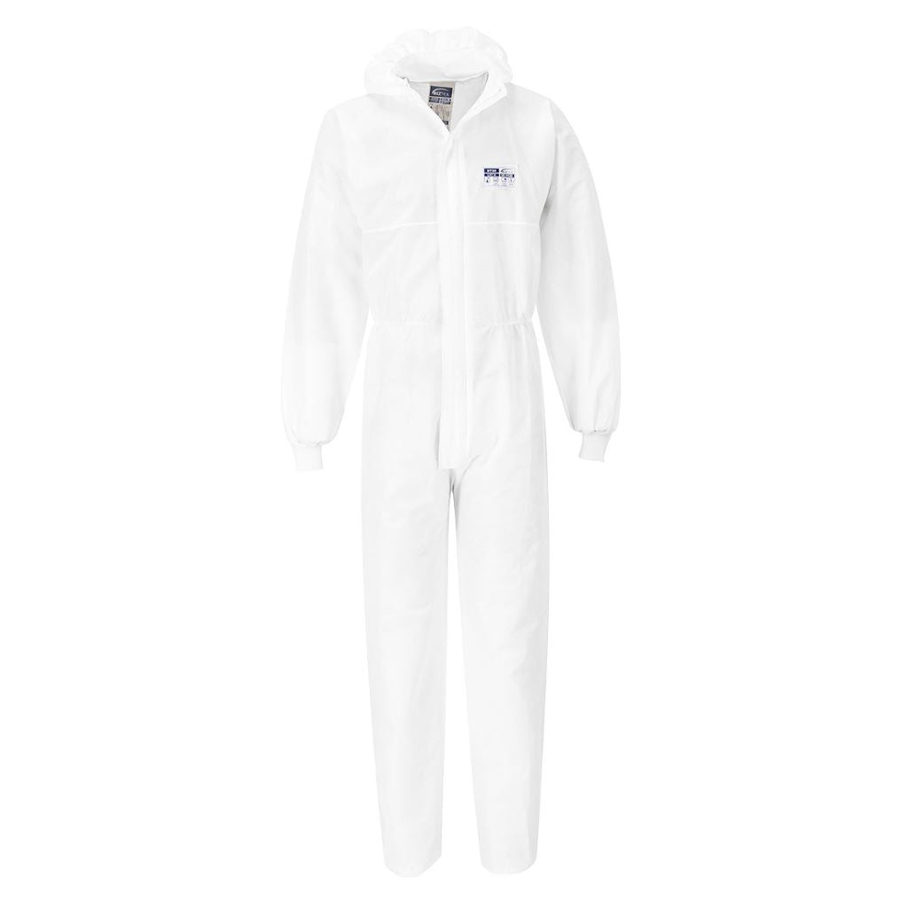 SMS Knit Cuff Coverall  (50pc) ST35 White