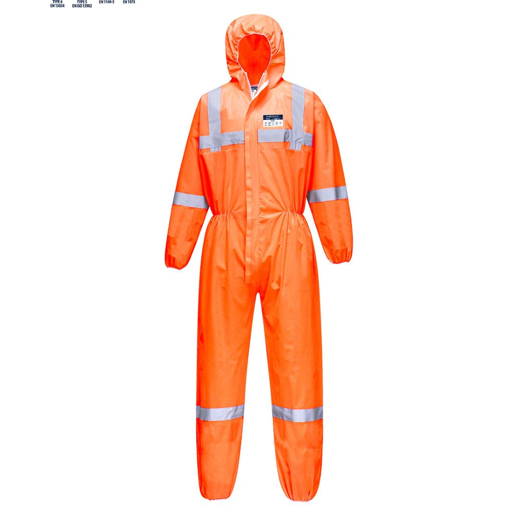 Hi-Vis SMS Coverall  (50pc) ST36 Orange