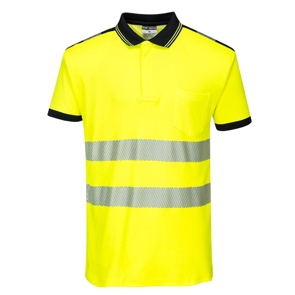 PW3 Hi-Vis Polo Shirt  S/S T180 YellowBlack