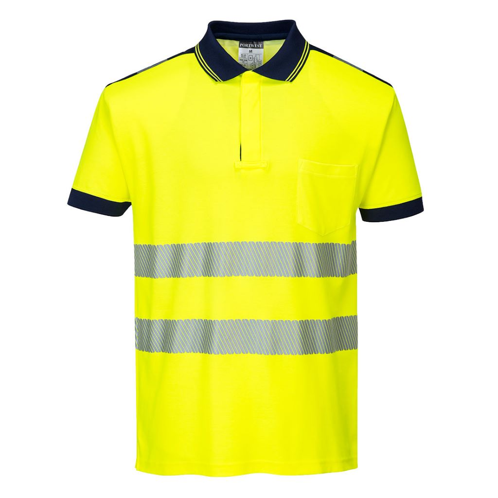 PW3 Hi-Vis Polo Shirt  S/S T180 YellowNavy
