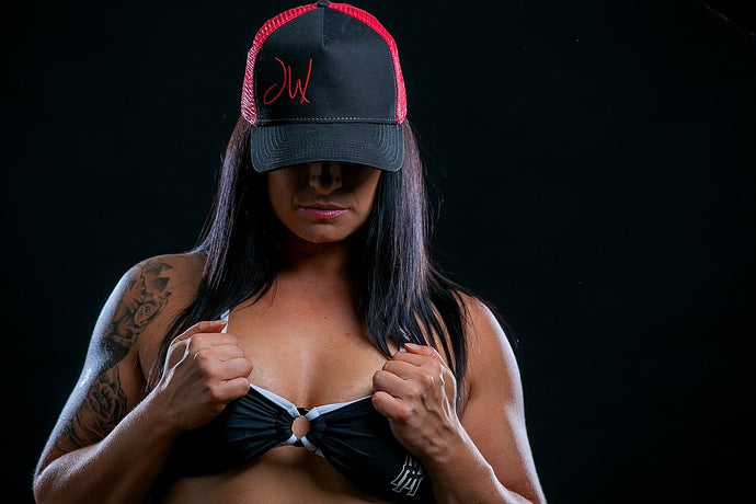 JW Black and Red Mesh Snap back Hat
