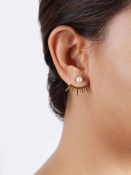 Eye Lash Ear Jacket - Gold
