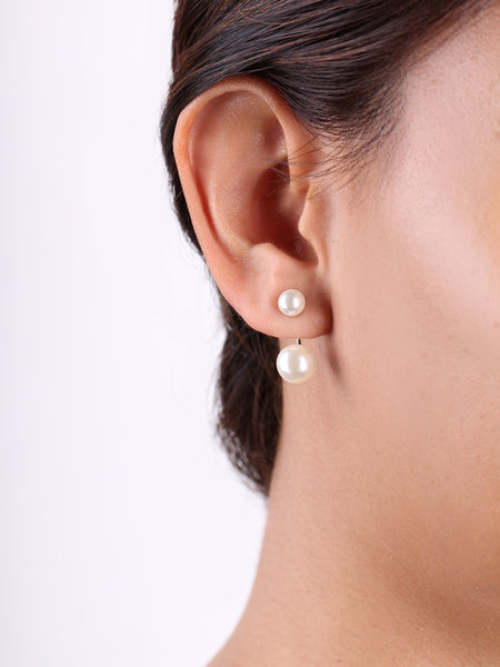 Pearl Suspension Drop Earrings - Silver