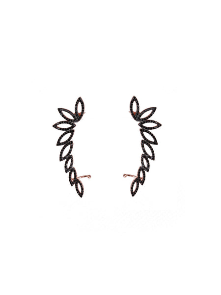 Jada Oversized Ear Cuffs - Rose Gold and Black Pave