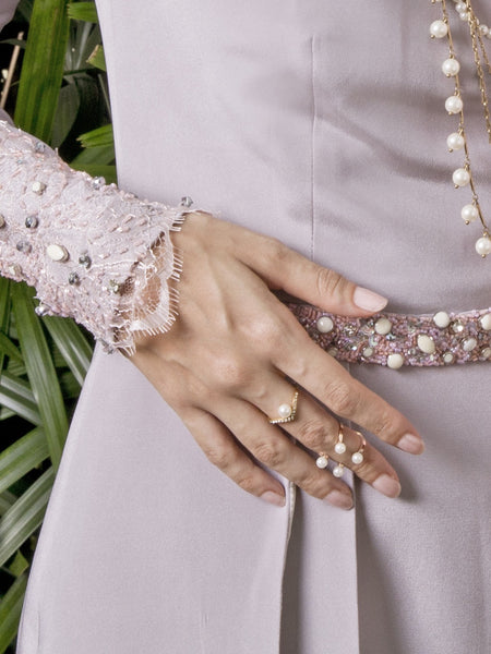 Pearl Midi Ring - Rose Gold