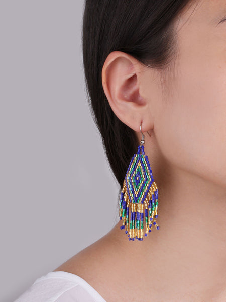 Ancient Aztec Earrings - Blue