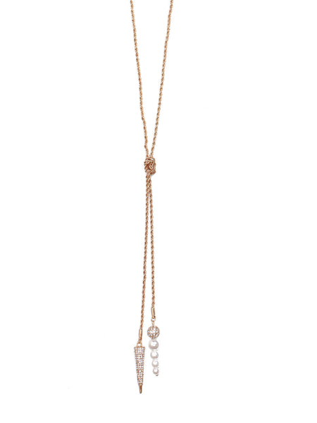 Spike Pearl Y-Chain - Gold