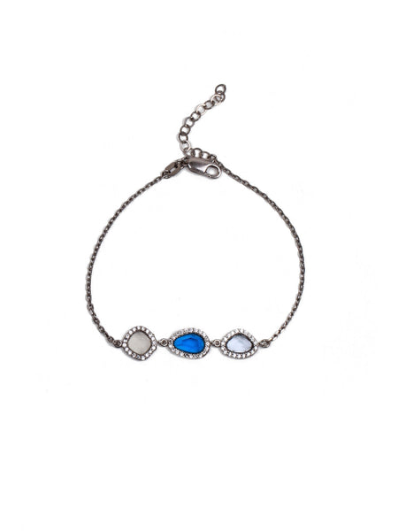 Demet Drop Bracelet - Sapphire and Clear