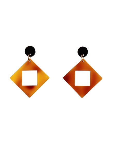 Bophie Deco Earrings - Tortoiseshell Square