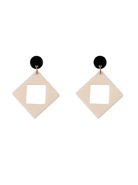 Bophie Deco Earrings - White Square
