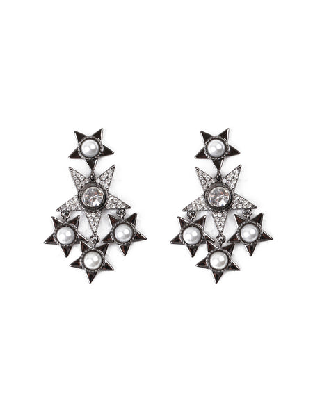 Star Cluster Chandelier Earrings - Gunmetal