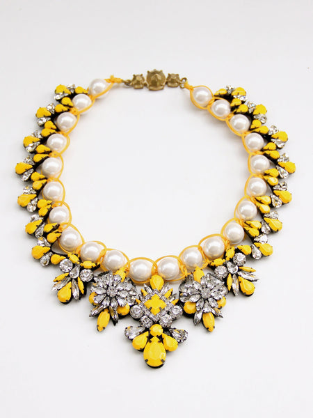 Anna Crystal Necklace - Yellow