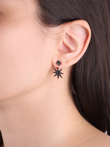 Starburst Ear Jackets - Black