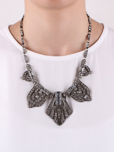 Delaunay Deco Necklace - Gunmetal