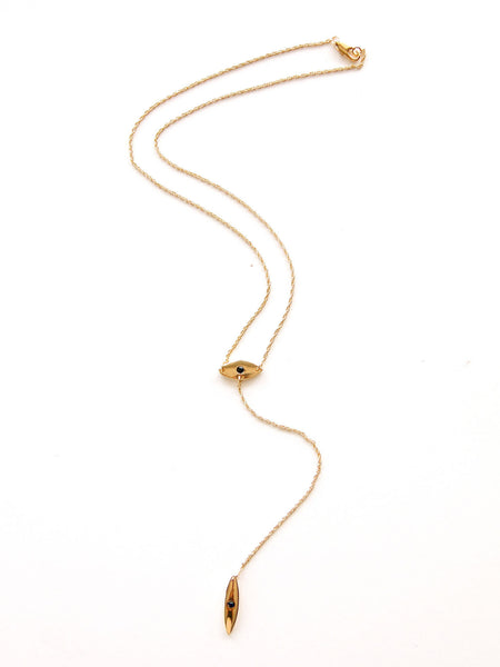 Golden Eye Lariat Necklace - Gold