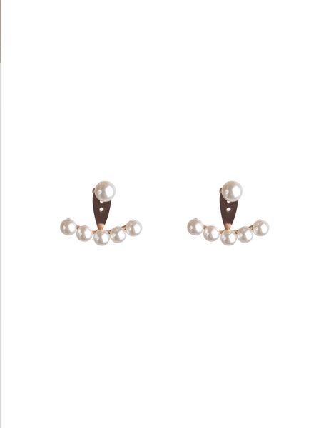 Lily Pearl Ear Jackets - Rose Gold