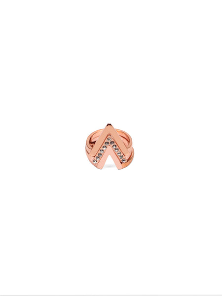 Chevron Ring Stack - Rose Gold