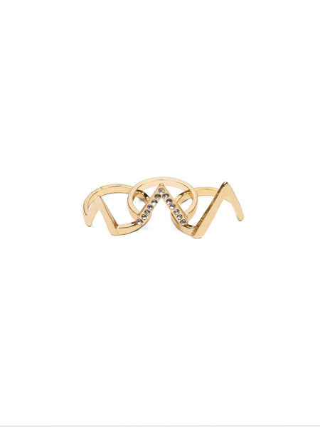 Chevron Ring Stack - Gold