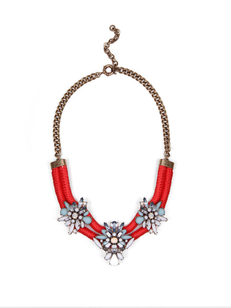 Embellished Cord Necklace - Coral
