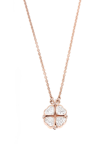 Lucky Four Leaf Clover Necklace - Rose Gold