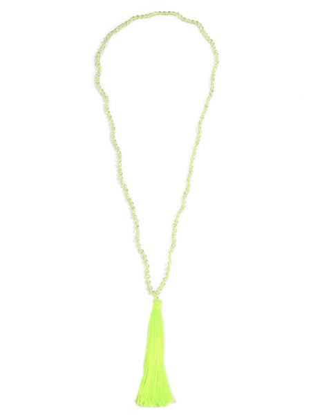 Crystal Tassel Necklace - Green