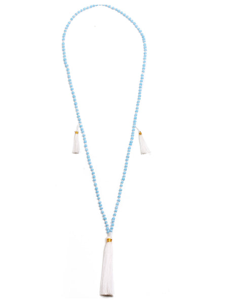Santai Bead and Tassel Necklace - Pale Blue and White