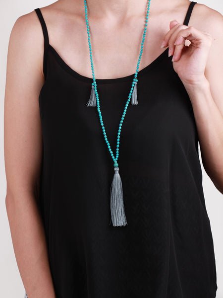Bodhi Bead and Tassel Necklace - Grey
