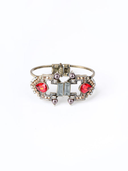 Art Deco Roxanne Bangle - Red