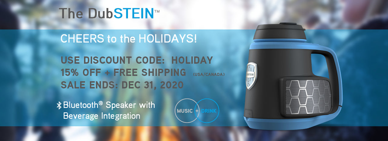 "The DubSTEIN™ Bluetooth® Speaker Koozie:   ""A rocket ship of fun"" – CoolestGadgets.com.  ""This actually sounds awesome!  Wow!"" – Alan Cross of A Journal of Musical Things.  ""Clever device… Awesome gadget"" – Gadgetify.  ""Delightful fusion of listening and drinking"" - Trendhunter"