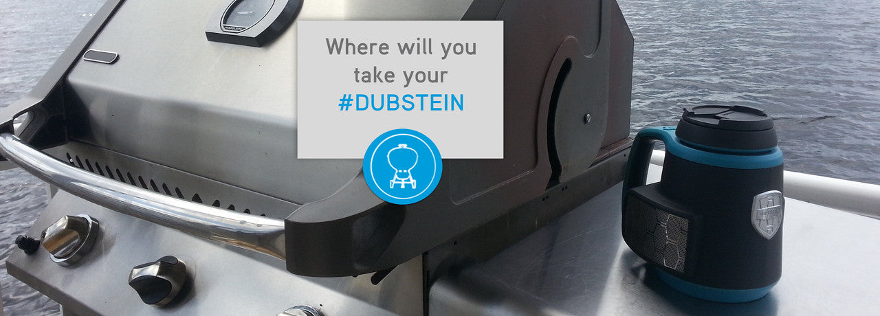 The DUBSTEIN™ Bluetooth® splashproof stereo speaker with beverage integration.