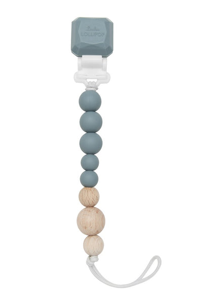 Lou Lou Lollipop Colour Pop Silicone & Wood Pacifier Clip - Slate