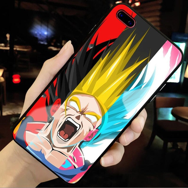 Forms of Goku Tempered Glass iPhone Case