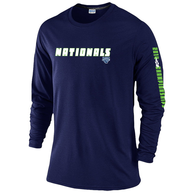 USTA LEAGUES 2014 Championships Men's Navy Long Sleeve Cotton Tee