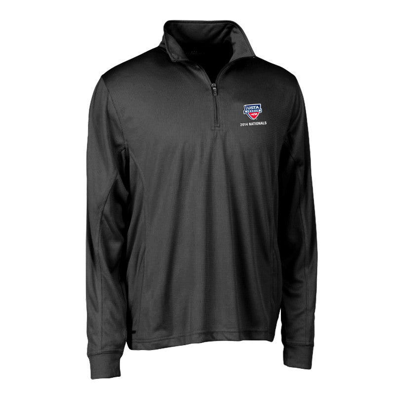 USTA LEAGUES 2014 National Championships Men's Charcoal E-S Tech Half Zip Performance Pullover