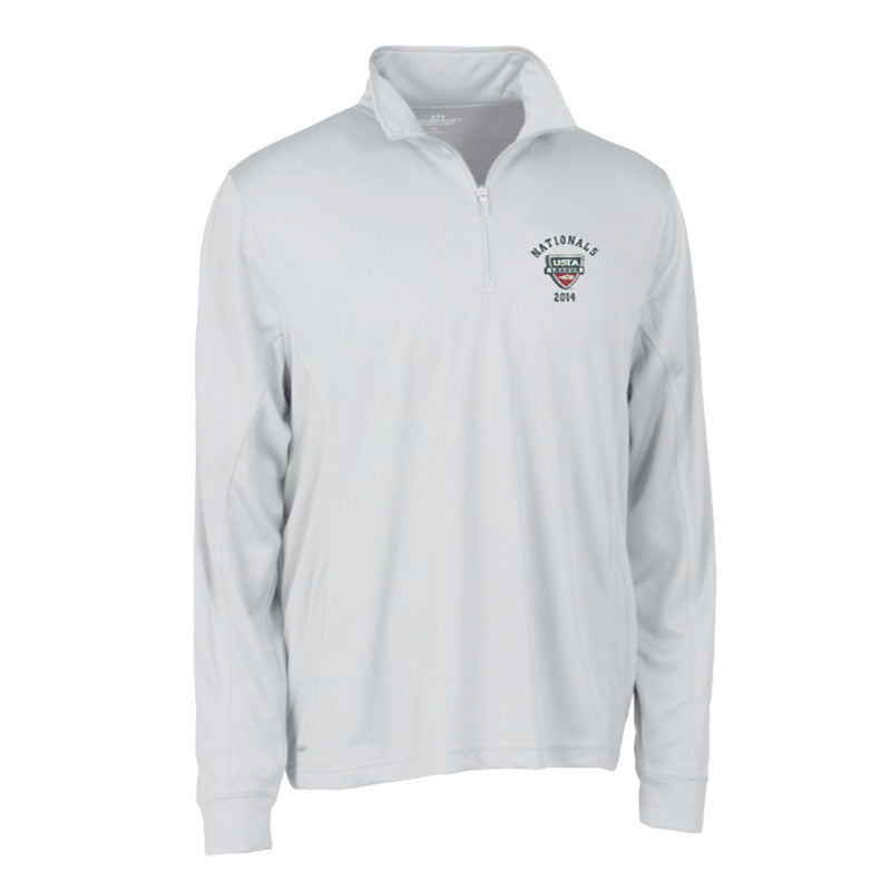 USTA LEAGUES 2014 National Championships Men's White Vansport Mesh Quarter Zip Tech Pullover
