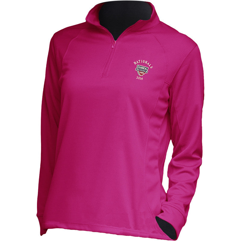 USTA LEAGUES 2014 National Championships Women's Berry Vansport Mesh 1/4 Zip Tech Pullover