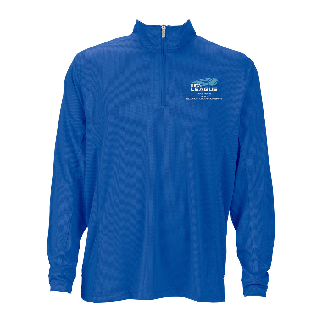 USTA Eastern 2017 Championships Men's Royal Mesh Vansport Quarter Zip Tech Pullover