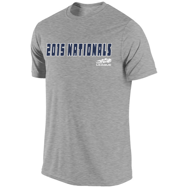 USTA LEAGUES 2015 National Championships Men's Gray Short Sleeve Cotton Tee