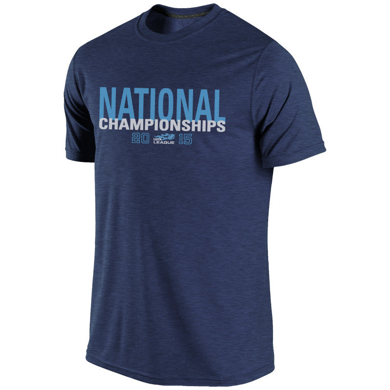USTA LEAGUES 2015 National Championships Men's Heather Navy Short Sleeve Cotton Tee