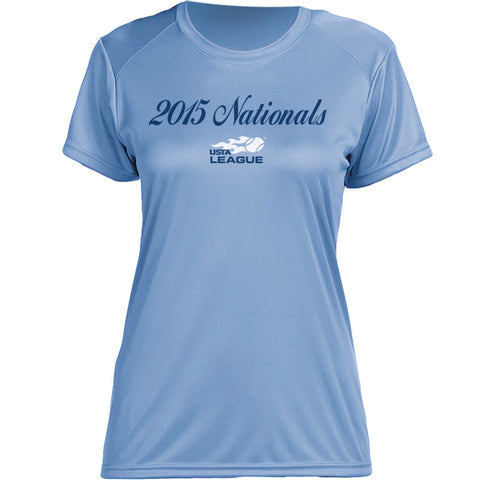 USTA LEAGUES 2015 National Championships Women's Light Blue Short Sleeve Performance Tee