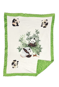 "WHITE BABY BLANKET WITH PRINTED PANDAS & COZY FLEECE. 31"" BY 38"" B-DLH0071K"