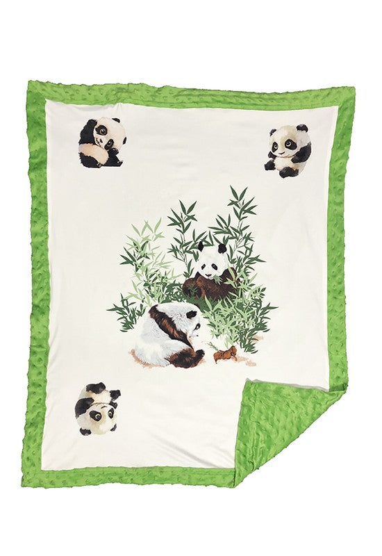 WHITE BABY BLANKET WITH PRINTED PANDAS & COZY FLEECE. 31