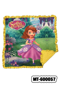 "SOFIA  ON A GARDEN BABY BLANKET W/ COZY FLEECE & RUFFLE DETAIL. 32"" BY 32""   MT-600057"