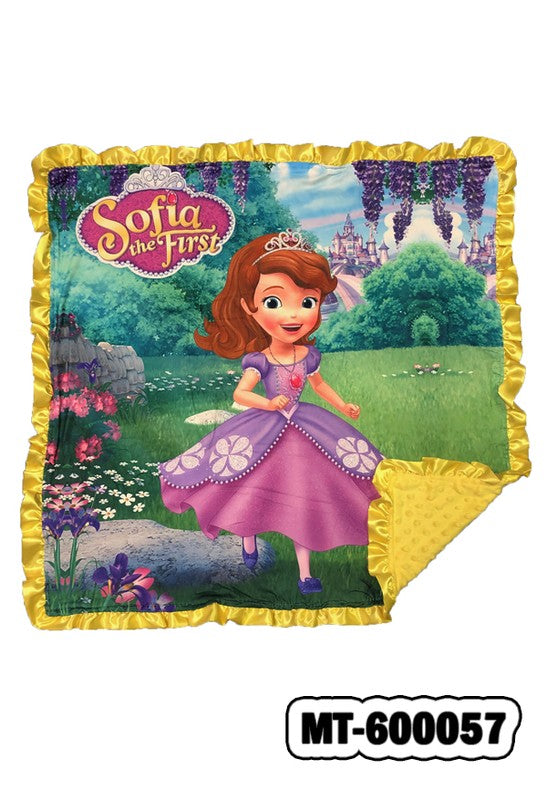 SOFIA  ON A GARDEN BABY BLANKET W/ COZY FLEECE & RUFFLE DETAIL. 32